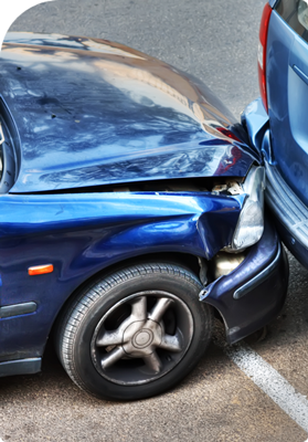 Blue car involved in a car accident